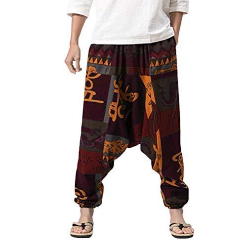 Pantalones De Harén Bombachos Hombre Mujer,ZARLLE Unisex para Yoga Cómodo Ancho Harem Pants con Entrepierna Casual Pantalones De Harén Festival Delantal Hippie Alta Cintura