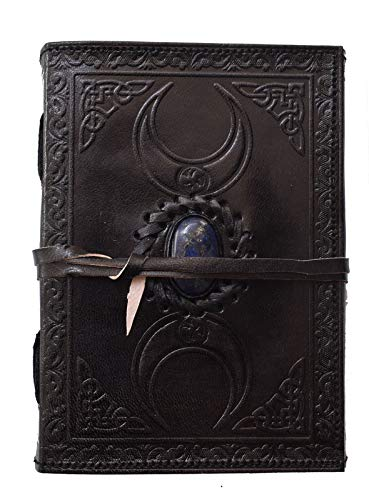 Leather Journal Third Eye Stone Triple Moon Black journals Vintage Embossed Celtic Strap Notepad Daily Unlined Blank Book of Shadow Sketchbook & Writing Notebook Personal Diary Men 7x5 inch
