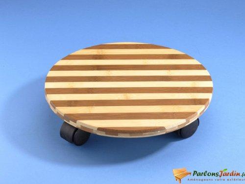 Dicoal B735VBA – Base mobile ronde diamètre 30 cm bambou bicolore