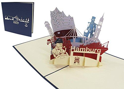 LIN 3D POP UP Karte Grußkarten Reisegutschein Geburtstag Karten Hamburg skyline, N193