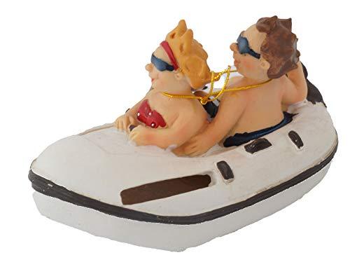 Formano Spardose Urlauber-Paar Sparbüchse Touristenpaar Mini Deko Pärchen Schlauchboot Mann Frau Wohnung Ostsee Weiß Rot Maritim 13cm