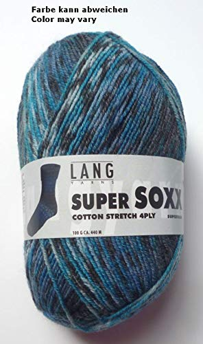 Lang Yarns 100g Super Soxx Cotton Stretch 4-Fach Sockenwolle Fb. 28