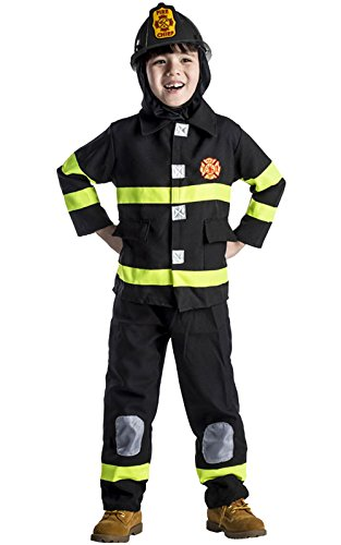 Dress Up America Firefighter Costume for Kids – Fireman Dress-Up for Boys and Girls - Black