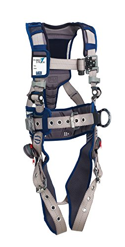 3M DBI-SALA 1112566 ExoFit STRATA, Aluminum Back/Side D-Rings, Tongue Buckle Leg Straps with Sewn in Hip Pad & Belt, Medium, Blue/Gray