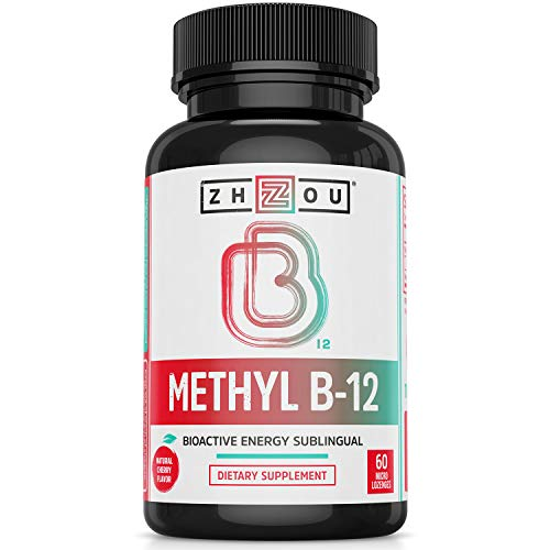 Zhou Nutrition Methyl (Vitamin B12) Lozenges, 5000 mcg for Maximum Absorption and Active Energy, Vegan, Cherry, 60 Count