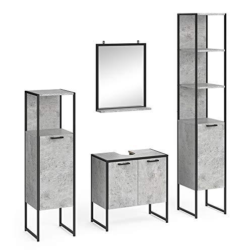 Vicco Loft Badmöbel Set Fyrk Badspiegel Hochschrank Midischrank Unterschrank (Beton, Set 8)