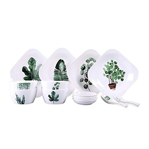 Juegos de Vajillas Cerámica Placa Planta Creativo Verde Vajilla Ensalada Plaza Bol Bol Hogar combinación Plato 16 Tazón de cerámica de Placas Ajustado para Cenas Formales