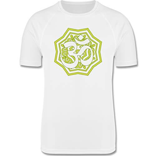 Shirtracer Wellness, Yoga & Co. - Mandala Tibet grün - XL - Weiß - Kurzarm - F350 - Herren Laufshirt