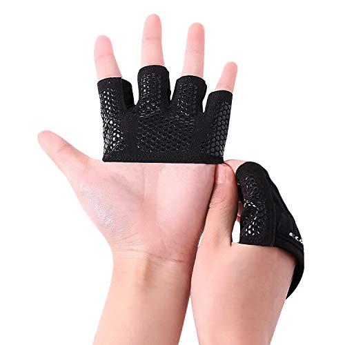 EULANT Gewichtheben Handschuhe, Crosstraining Handschuhe Kurzfingerhandschuh für Gewichtheber und Crosstraining Kraftsport Gym Kettlebell, Verbesserte Silikongriff-Handfläche,M