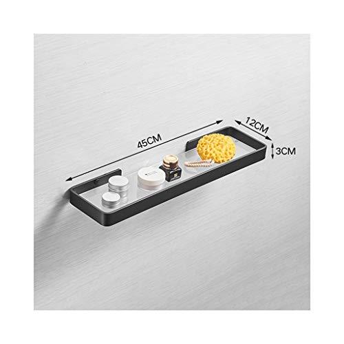 WZNING Estante de cristal para baño de baño, estante para montaje en pared, barniz de aluminio negro para hornear (vidrio templado esmerilado) (tamaño: 45 cm)