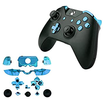 for Xbox One Elite Replacement Full Buttons Bumper Triggers T6 T8 Screwfor Xbox One Controller with 3.5mm Jack  Chrome Blue