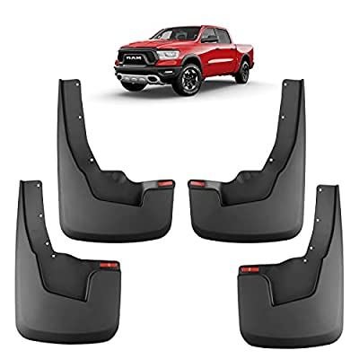 Motrobe Mud Flaps Splash Guards Fit for 2021 2020 2019 Dodge RAM 1500 with OEM Flares New Body Style (Front and Rear Mud Guards), Set of 4, Not Fit for RAM TRX