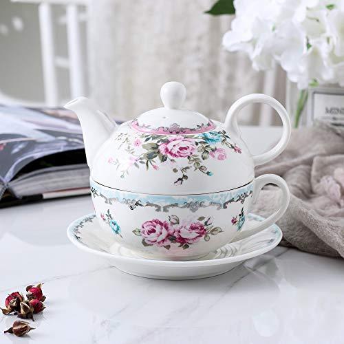 MALACASA, Serie Sweet.Time, Porzellan Teeservice Teeset 4 teilig Set Teekanne mit Tasse und Untersetzer Blumen Teekannen & Kaffekannen Geschenk