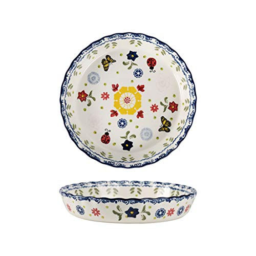10' Christmas Round Pie Pan Pizza Baking Serving Dish Oven Bakeware - Set of 1 (10' - Butterfly Flowers)