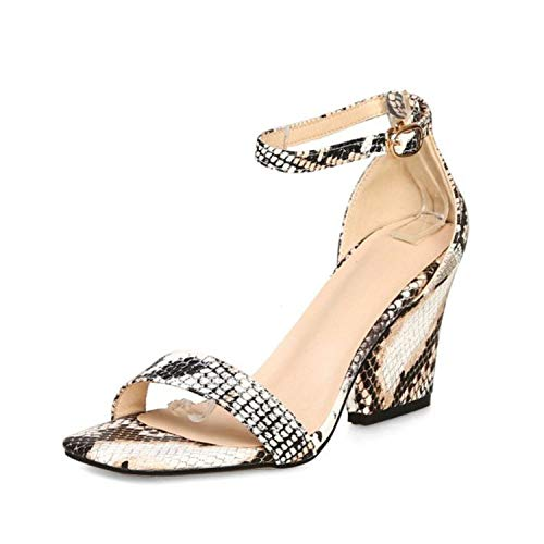 Romance-and-Beauty Sandals Femme Sandales Talons Hauts Boucle Bout Ouvert Sexy Summer Serpentine Chaussures Femmes Mode Party Femme, (Bruin), 42 EU