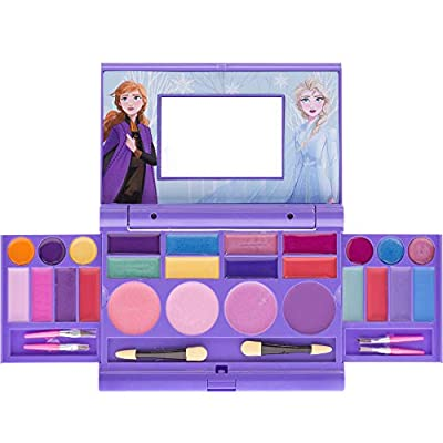 Townley Girl Disney Frozen 2 Cosmetic Compact Set with Mirror 22 lip glosses, 4 Body Shines, 6 Brushes Colorful Portable Foldable Make Up Beauty Kit For Girls