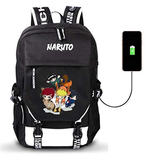 YOYOSHome Anime Naruto Cosplay Bookbag Daypack Laptop Tasche Rucksack Schultasche mit USB-Ladeanschluss, 14 (Schwarz) - yyyo3