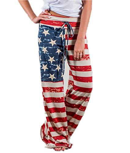 4th of July Women's American Flag Drawstring Wide Leg Pants Leggings (US 4/M, Red)