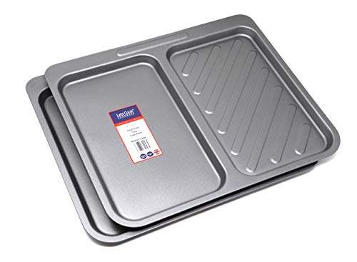 Dual Oven Tray Twin Pack, British Made with Teflon Non Stick by Lets Cook Cookware