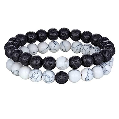 Armreif mit Kette, Hot 2Pcs/Set 7 Style Couples Distance Bracelet Natural Stone Yoga Beaded Bracelet For Men Women Friend Gift Charm Strand Jewelry Blcak Lava White