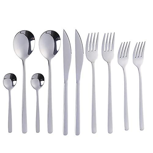 Juego de cubiertos, cubiertos de acero inoxidable, juego de cubiertos de plata de 10 piezas que incluye cuchillos, tenedores, cucharas, tenedores para pasteles, cucharas de té / café.