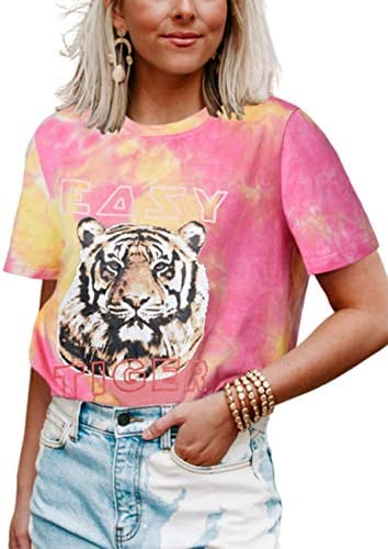 Sofia s Choice Women Tie dye Graphic Tee Shirt for Women Teen Girls Short Sleeve Easy Tiger product image