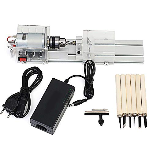 Read About 100W Mini Lathe Machine Tools, DIY Woodworking Buddha Pearl Grinding Polishing Beads Wood...