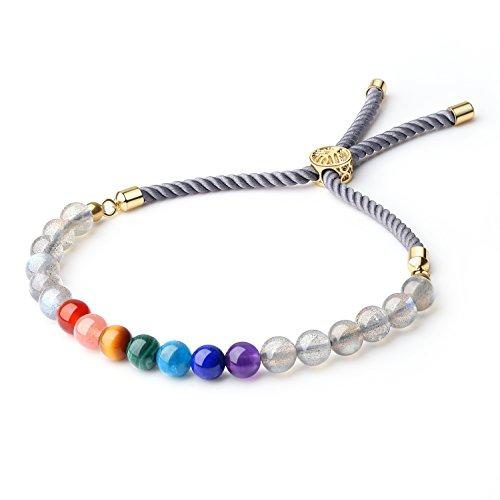 coai Geschenkideen Glücksarmband aus 7 Chakra und Labradorit Verstellbares Yoga-Armband für Damen und Herren in Jeder Gewünschten Größe