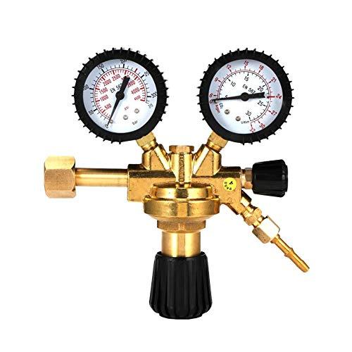 Druckminderer Argon-CO2-Druckregler mit W21.8-Auslass, Druckregler für Argon/CO2 Schutzgas zu MIG/MAG Schweißgerät, Messingoberfläche, Geeignet für alle gängigen Standardgase von TZUTOGETHER