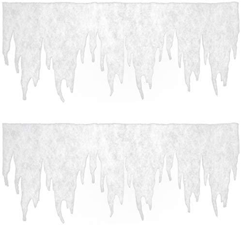 com-four® 2X Eiszapfen Girlande als Weihnachtsdeko - Fensterbilder Weihnachten - Eiszapfen Winterdeko für Fenster und Türen (02 Stück - Girlande groß)