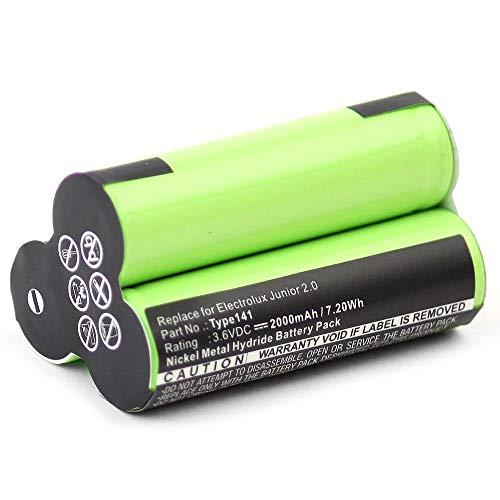 subtel® Premium Akku (3.6V, 2000mAh, NiMH) kompatibel mit AEG Junior 2.0 / Electrolux Junior 2.0 - Type141 Ersatzakku Batterie Werkzeugakku