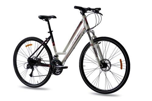 '28 KCP Cross Roue vélo Cross Femme de Urbano Cross Line 1.0 en aluminium avec 24 g Acera Blanc Noir – 71,1 cm (28 pouces)