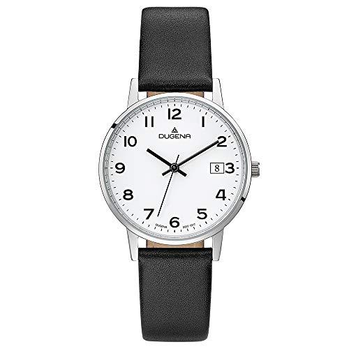 Dugena Damen Quarz-Armbanduhr, Gehärtetes Mineralglas, Lederarmband, Moma, Schwarz/Silber, 4460738