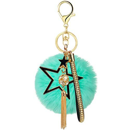 Pelz-Ball Pom Pom Schlüsselanhänger mit Pentagramm und Quasten-Anhängern, Schlüsselanhänger für Dekoration Auto Werkzeug Kit