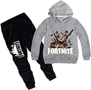 2 piece set 3D digital printing Fortnite printing fashion long sleeve round collar hoodie pants children cotton clothing Suit