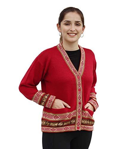 Alpaca Wool Sweater Women Alpaca Sweaters Women Alpaca Wool Cardigan for Women Andean Design (Red, M)