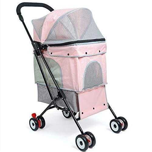 Carro para Mascotas Cochecito del animal doméstico del gato del perrito Cochecito fácil de instalar rápida plegable de cuatro ruedas-Viajes al aire libre Cochecito de cuatro Ruedas para Mascotas