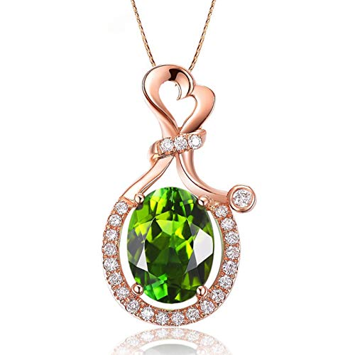 S925 Sterling Silver High-end elegant olive gemstone plated 18K rose gold pendant female necklace jewelry Engagement Anniversary Keepsake Gift for Her, Wife, Girlfriend