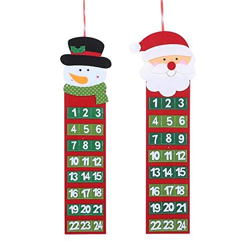 Adventskalender kerstkalender voor kinderen Santa Felt Adventskalender met 24 dagen Xmas Countdown kalender ornamenten voor kinderen Home Office deur wanddecoratie MEERWEG AANBIEDING