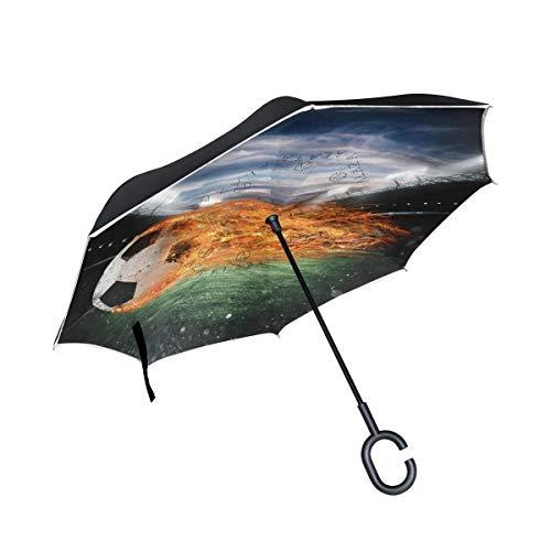 AOTISO Fußball des Feuers am umgekehrten Regenschirm des Stadions, großer doppelschichtiger Regensonnen-Regenschirm im Freien