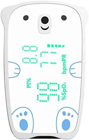 EMAY oxímetro de pulso para niños (3-12 años de edad) | Monitor de saturación de oxígeno en sangre SpO2 con seguimiento de frecuencia cardíaca Incluye termómetro digital adicional para niños
