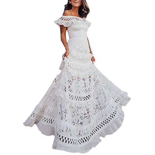 iQKA Vestido Womens Summer Holiday Lace Hollow Out Sundress Solid Slash-Neck Off The Shoulder Maxi Dress White