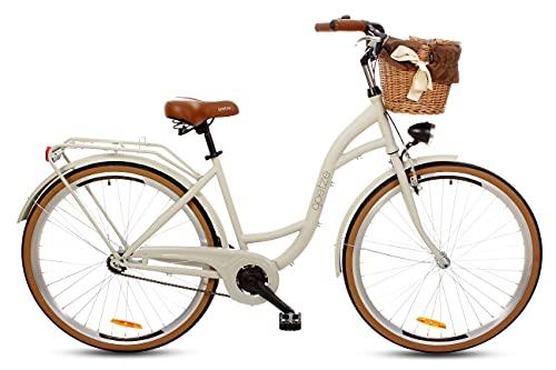 Goetze Bicicleta de ciudad retro vintage holandesa para mujer, ruedas de aluminio de 28 pulgadas, 1 marcha, freno de contrapedal, entrada profunda, cesta con acolchado gratis.