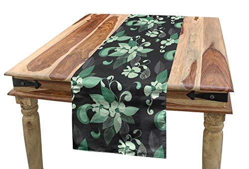 ABAKUHAUS Grijs en groen Tafelloper, nostalgische Floral, Eetkamer Keuken Rechthoekige Loper, 40 x 180 cm, Grey Mint Green
