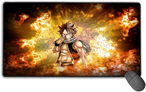 Professionele laptop muismat met gestikte randen, extra grote high-performance muismat, sprookjesstaart Natsu Dragneel Fire Cloud Fan Art Cool Gaming muismat voor kinderen thuis