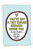 NobleWorks, Tiny Human - Funny Newborn Baby Congratulations Card - Adorable New Parent Stationery, Pregnancy Notecard C7242BBG