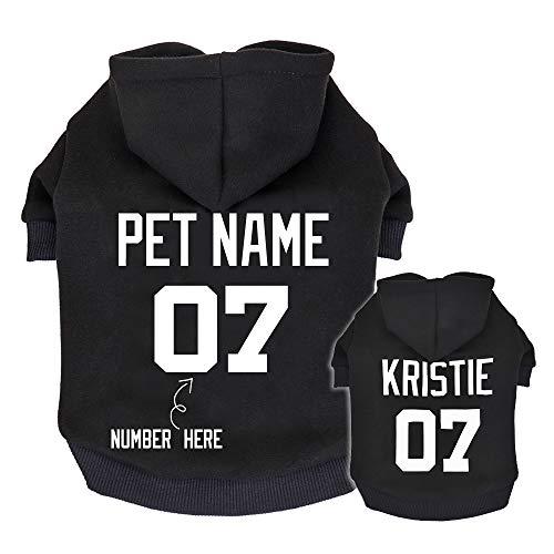 Didog Sudaderas personalizadas para perro, camisa de suéter con nombre y número de mascotas, ropa de identificación para perros pequeños y medianos, color negro, XS