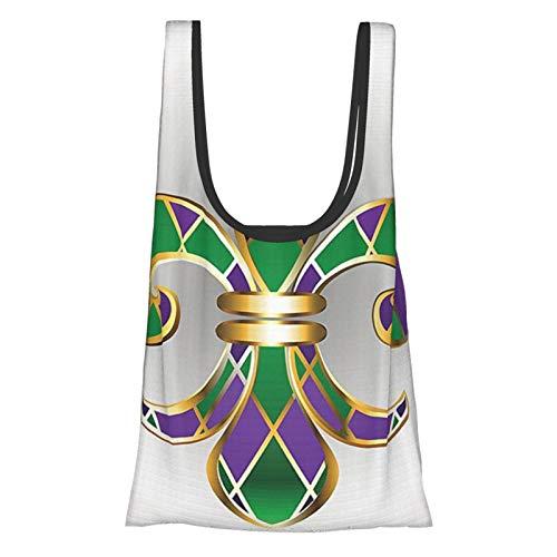Lilien-Lilien-Dekor, Goldschmuck, Lilie, verziert mit Diamantformen, königliche antike Kunstwerke, goldfarben, lila, grün, wiederverwendbare Einkaufstasche, umweltfreundliche Einkaufstasche