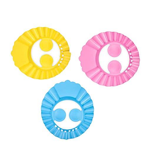 inherited cappello da doccia bambino,shampoo sicuro regolabile bagno e con cappuccio visiera impermeabile protezione doccia bambino Prevenire l'Acqua Flusso Verso Occhi e Viso,3pcs