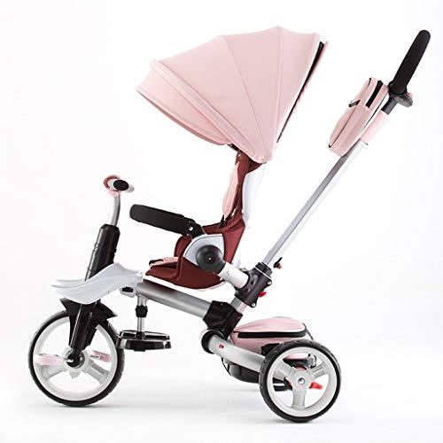 WENJIE Cochecito Plegable al Aire Libre, sombrilla roja for Principiantes 4 en 1 Triciclo, 1-6 años de Edad, niña niño Triciclo Rosado Presente de cumpleaños (Color : Pink)